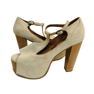 Jeffrey Campbell Platforms TStrap Peep Toe Suede 8